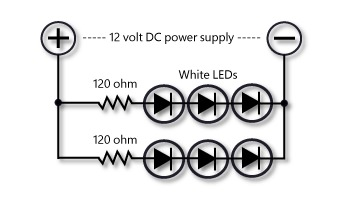 Wiring sets of three white LEDs
