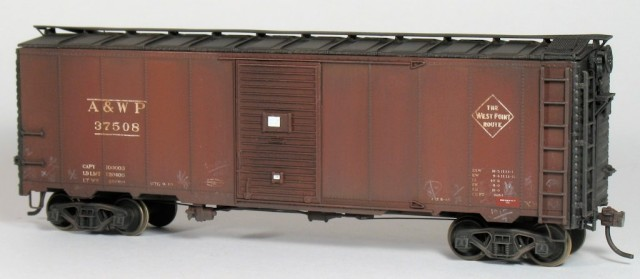 A&WP 37508, as finished by the author, began as an undecorated Intermountain 1937 AAR box car kit.