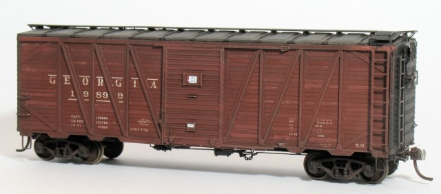 The Sunshine Models War Emergency 40-foot box car, finished for the Georgia Railroad.