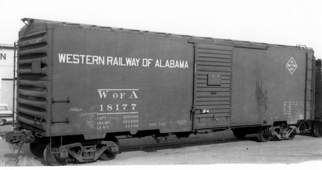 Western Railway of Alabama 18177 at San Francisco, December 1953. It didn't take long for black car cement to begin peeling from the roof sheets. Note that the roof cement coating is already deteriorating off this car's roof after just 21 months. Many cars lost virtually all of the roof cement coating after three or four years, leaving the black coating over the seam caps, which tended to adhere much better than to the galvanized steel roof panels. Photo by W.C. Whittaker, Ed Hawkins collection.