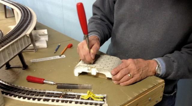 Carving a Styrofoam Retaining Wall