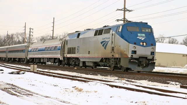 Amtrak's Missouri River Runner at track speed headed for downtown St. Louis.