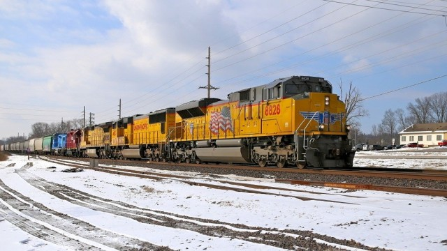 Union Pacific eastbound mixed freight. This the old Missouri Pacific line, and the same rails I've been shooting the past couple of weeks, just three or four miles east. This is at MP 28.