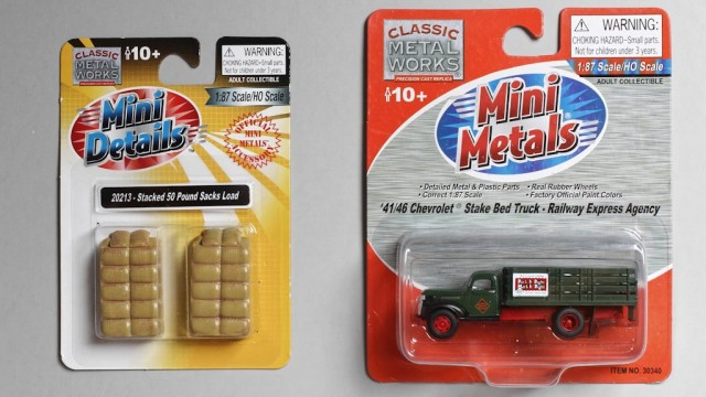 The new Classic Metal Works Mini Details #20213 sack loads with the #30340 1946 Chevy REA stake bed truck.