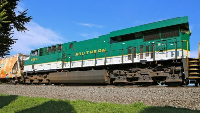"""Early one morning, an eastbound mixed freight had this beauty in the consist. This is the Norfolk Southern's salute to the former Southern Railroad in its Heritage program, highlighting the """"fallen flags"""" that are now a part of the NS system."""