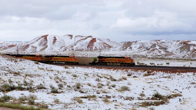 A BNSF train just outside the Antelope Mine (currently closed down).