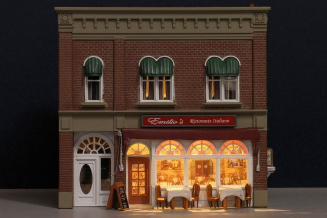 Emilio's Italian Restaurant Lighted HO Scale Building