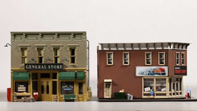 Menard's Hobby Shop would work well in a setting with other two-story buildings.