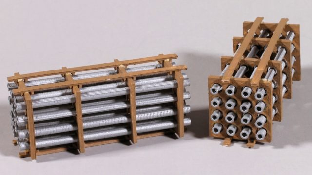 """The pipe load is printed in a combination of PLA and ABS plastics. This is the """"50 foot car load."""""""