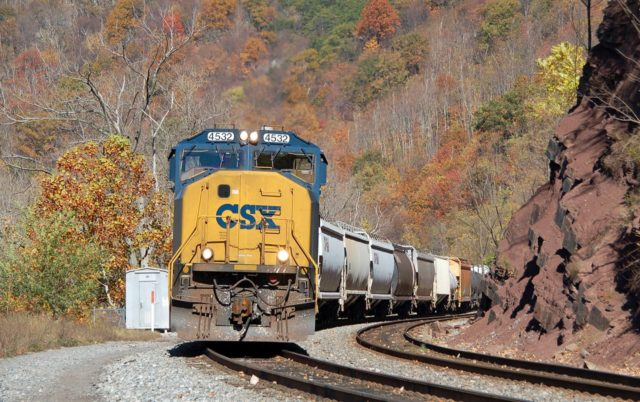 """Stopping at the """"Bud Board"""" just before entering Cumberland, Maryland yard limits."""
