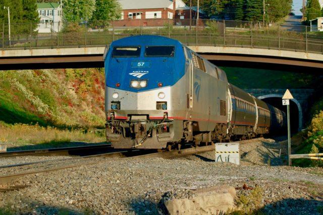 "Amtrak's westbound ""Pennsylvanian"" exits the tunnel at Gallitzin, Pennsylvania."