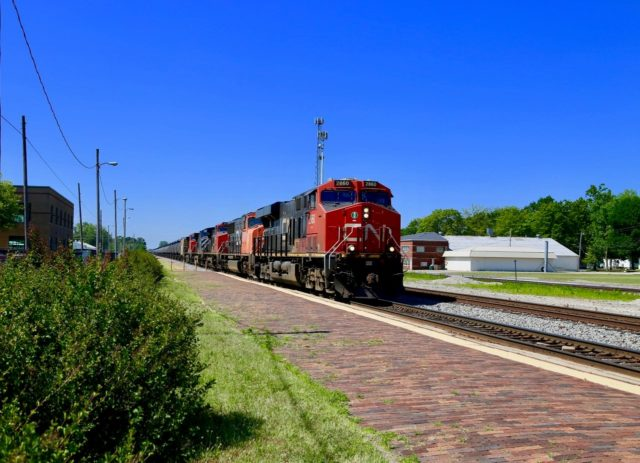 """Historically Illinois Central rails now belong to Canadian National; here at Centralia, Illinois is this """"rolling pipeline"""" unit train headed north."""